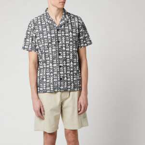 Folk Men's Soft Collar Shirt - Tile Print White