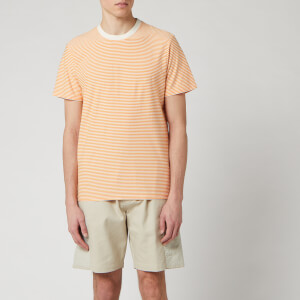 Folk Men's 1 X 1 Stripe T-Shirt - Marigold Ecru