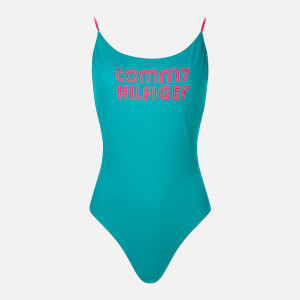 Tommy Hilfiger Women's One Piece High Leg Swimsuit - Calypso Green