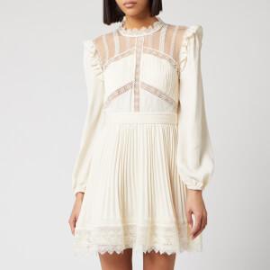 Self-Portrait Women's Cream Lace Trim Mini Dress - Cream