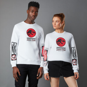 Sweat-shirt Jurassic Park Primal Warning - Blanc - Unisexe