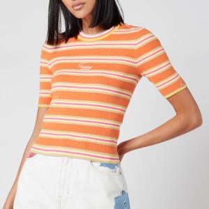 Tommy Jeans Women's Stripe 3/4 Sleeve Sweater - Rustic Orange/Multi