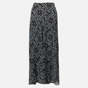 RIXO Women's Kelly Midi Skirt - Black Square Floral