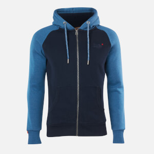 Superdry Men's Classic Raglan Zip Hoodie - Rich Blue Marl