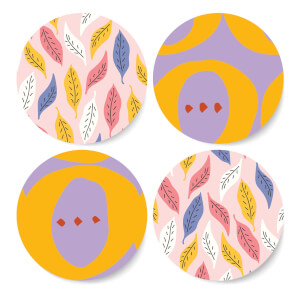 Colourful Leaves Coaster Set