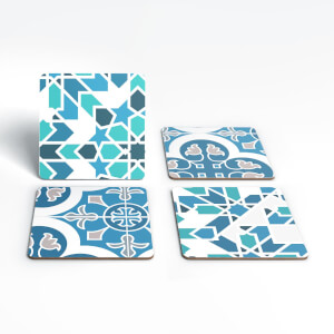 Geometric Star Tiles Coaster Set