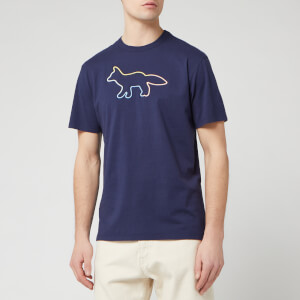 Maison Kitsuné Men's Rainbow Profile Fox Embroidery T-Shirt - Navy