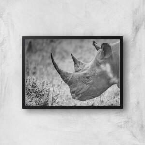 Grayscale Rhino Giclee Art Print