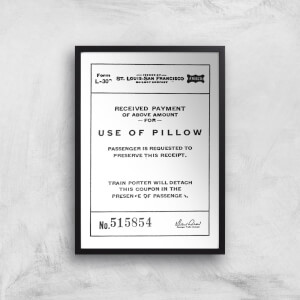 Use Of Pillow Ticket Giclee Art Print
