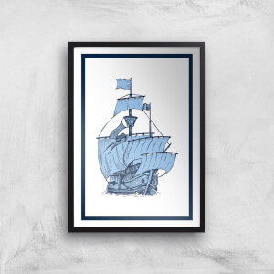 Blue Ship Giclee Art Print