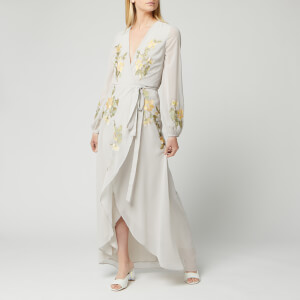 Hope & Ivy Women's Embroidered Wrap Maxi Dress - Pale Blue