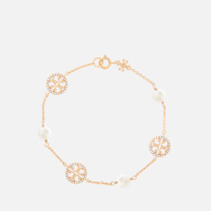 Tory Burch Women's Crystal Pearl Logo Bracelet - Tory Gold/Crystal/Pearl
