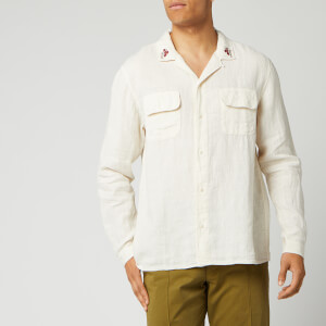 YMC Men's Embroidered Feathers Shirt - Ecru