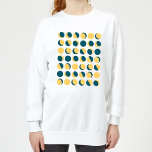 Moon Phase Pattern Women's Sweatshirt - White