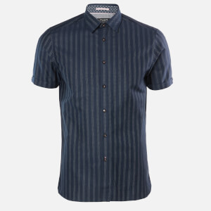 Ted Baker Men's Handeez Dotted Stripe Shirt - Navy
