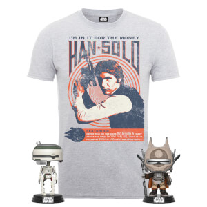Pack Star Wars Han Solo: Camiseta + 2 Pop!