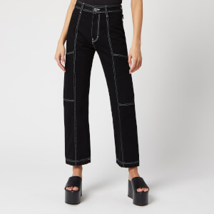 Simon Miller Women's Trouser Cargo Jeans - Night Hour/White Stitch