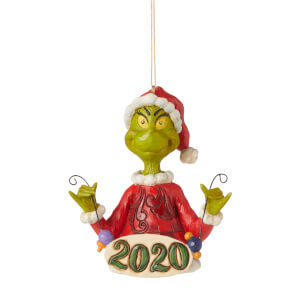 The Grinch by Jim Shore Grinch Holding String of Ornaments (Hanging Ornament) 11.5cm