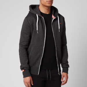 Superdry Men's Orange Label Zip Hoodie - Low Light Black Grit