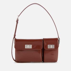 by FAR Women's Billy Semi Patent Shoulder Bag - Dark Brown