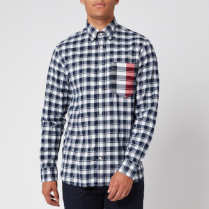 Tommy Hilfiger Men's Gingham Global Stripe Shirt - Pitch Blue/White