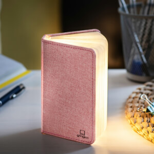 Gingko Linen Fabric Mini Smart Book Light - Blush Pink