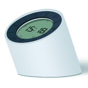 Gingko The Edge Light Alarm Clock - Cream/White