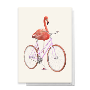 Flamingo Bike Greeting Greetings Card