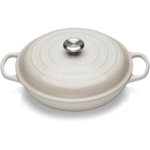 Le Creuset Signature Cast Iron Shallow Casserole Dish - 30cm - Meringue