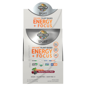 Sport Organic Plant-Based Energy Plus Focus - Sugar Free Blackberry Cherry - 12 Sachets