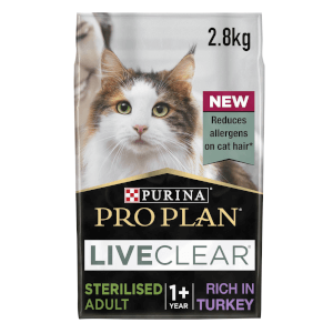 PRO PLAN LIVECLEAR Cat-Allergen Reducing Dry Sterilised Adult Food - Turkey - 2.8KG