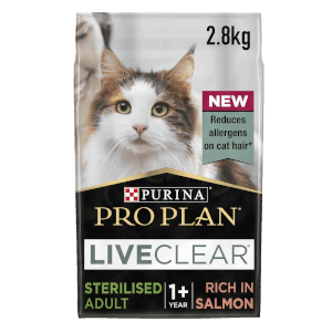 PRO PLAN LIVECLEAR Cat-Allergen Reducing Dry Sterilised Adult Food - Salmon - 2.8KG