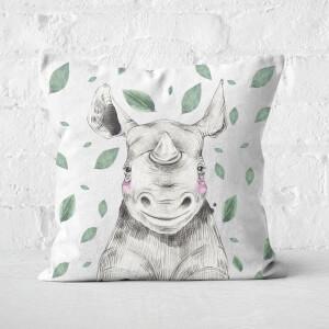 Rhino And Leaves Square Cushion