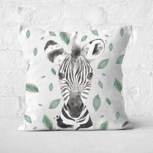 Zebra And Leaves Square Cushion
