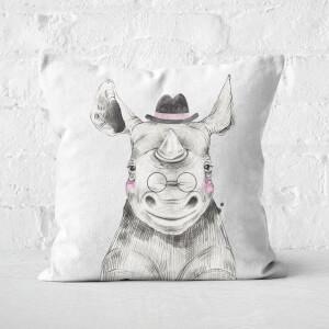 Literate Rhino Square Cushion