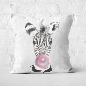 Bubblegum Zebra Square Cushion