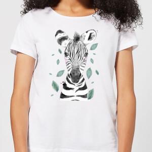 Zebra And Leaves Women's T-Shirt - White