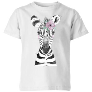 Floral Zebra Kids' T-Shirt - White