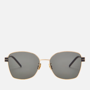 Saint Laurent Women's Square Metal Frame Sunglasses - Gold/Grey