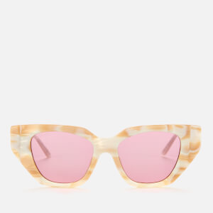Gucci Women's Cat Eye Crystal Detail Sunglasses - White/Silver/Pink