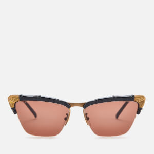 Gucci Women's Cat Eye Frame Sunglasses - Black/Brown