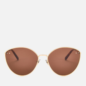 Bottega Veneta Women's Cat Eye Metal Frame Sunglasses - Gold/Brown