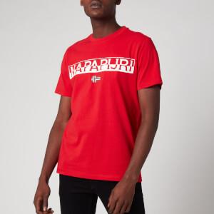 Napapijri Men's Saras Solid Large Logo T-Shirt - Bright Red