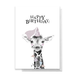 Happy Birthday Giraffe Hat Greetings Card
