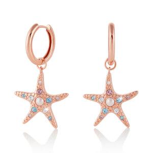 Olivia Burton Women's Starfish Sparkle Huggies - Rose Gold