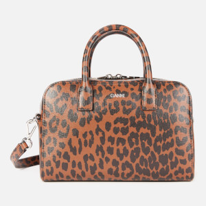 Ganni Women's Leopard Print Top Handle Bag - Toffee