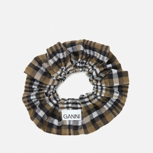 Ganni Women's Seersucker Check Scrunchie - Kalamata