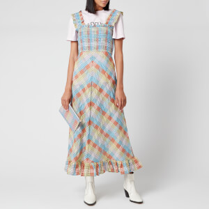 Ganni Women's Seersucker Check Midi Dress - Multicolour