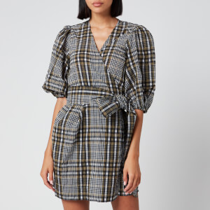 Ganni Women's Seersucker Check Mini Wrap Dress - Kalamata