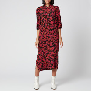 Ganni Women's Leaf Print Crepe Shirt Dress - Black/Red